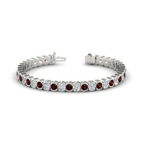 Palladium Bracelet with Red Garnet and Diamond