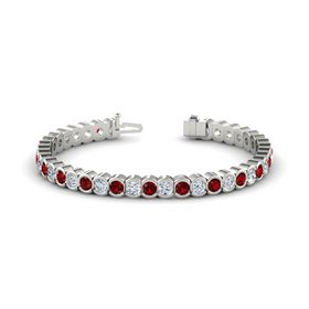 Palladium Bracelet with Ruby & Diamond
