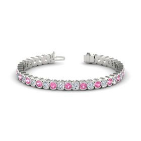 Palladium Bracelet with Pink Tourmaline and Diamond