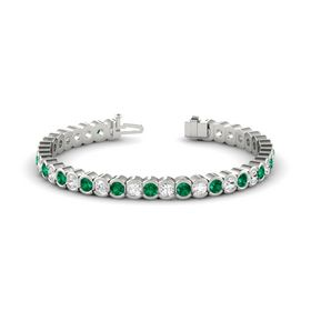 Platinum Bracelet with Emerald and White Sapphire