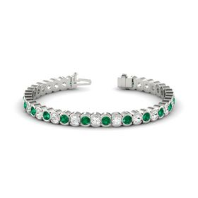 Platinum Bracelet with White Sapphire and Emerald