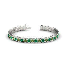 Platinum Bracelet with Green Tourmaline and Emerald