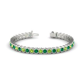 Platinum Bracelet with Peridot and Emerald
