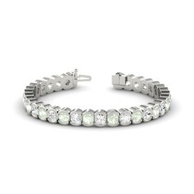 14K White Gold Bracelet with Green Amethyst and White Sapphire