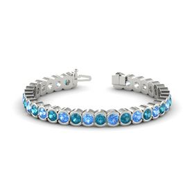 Palladium Bracelet with Blue Topaz and London Blue Topaz