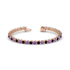 14K Rose Gold Bracelet with Amethyst and Black Onyx