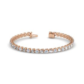 14K Rose Gold Bracelet with Rock Crystal & Diamond