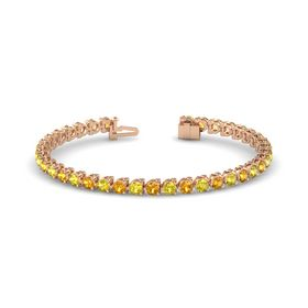 14K Rose Gold Bracelet with Citrine & Yellow Sapphire