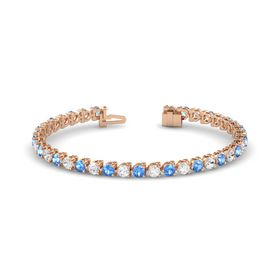 14K Rose Gold Bracelet with Blue Topaz and White Sapphire