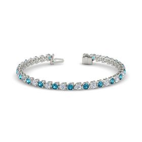 14K White Gold Bracelet with London Blue Topaz & Diamond