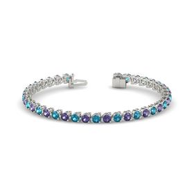 14K White Gold Bracelet with London Blue Topaz & Iolite