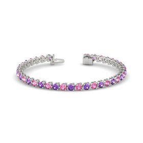 14K White Gold Bracelet with Amethyst and Pink Tourmaline