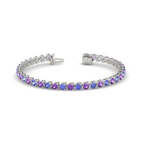 14K White Gold Bracelet with Amethyst & Tanzanite