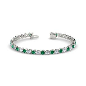 14K White Gold Bracelet with Emerald & Diamond