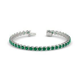 14K White Gold Bracelet with Emerald