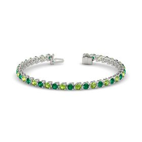 14K White Gold Bracelet with Emerald and Peridot