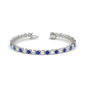 14K White Gold Bracelet with White Sapphire and Blue Sapphire