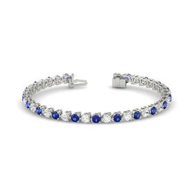 14K White Gold Bracelet with Sapphire & White Sapphire