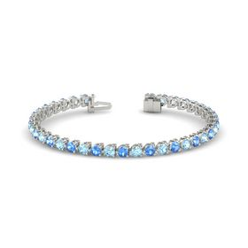 14K White Gold Bracelet with Blue Topaz and Aquamarine