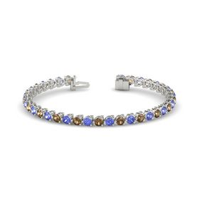 14K White Gold Bracelet with Smoky Quartz and Tanzanite