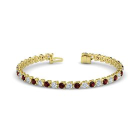 14K Yellow Gold Bracelet with Diamond and Red Garnet