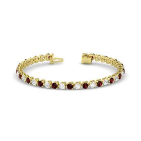 14K Yellow Gold Bracelet with Red Garnet & White Sapphire