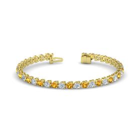 14K Yellow Gold Bracelet with Citrine and Diamond