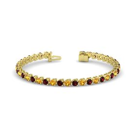 14K Yellow Gold Bracelet with Citrine & Red Garnet