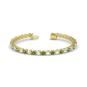 14K Yellow Gold Bracelet with Green Tourmaline and White Sapphire