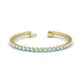 14K Yellow Gold Bracelet with Aquamarine