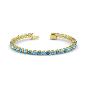 14K Yellow Gold Bracelet with Blue Topaz & London Blue Topaz