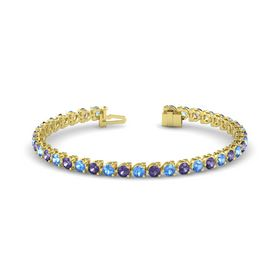 14K Yellow Gold Bracelet with Blue Topaz & Iolite