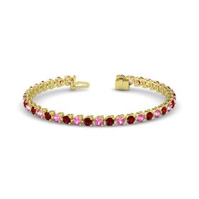 14K Yellow Gold Bracelet with Pink Tourmaline and Ruby
