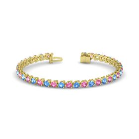 14K Yellow Gold Bracelet with Pink Tourmaline & Blue Topaz