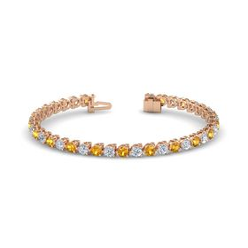 18K Rose Gold Bracelet with Citrine and Diamond