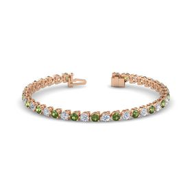 18K Rose Gold Bracelet with Green Tourmaline and Diamond