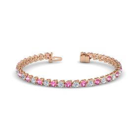 18K Rose Gold Bracelet with Pink Tourmaline and Diamond