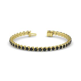 18K Yellow Gold Bracelet with Black Diamond