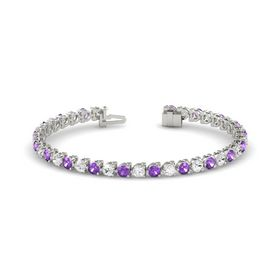Palladium Bracelet with White Sapphire and Amethyst