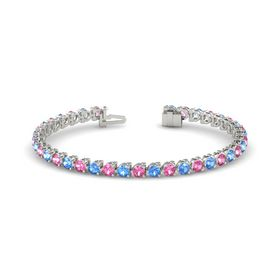 Palladium Bracelet with Pink Tourmaline & Blue Topaz