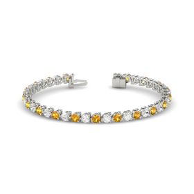 Platinum Bracelet with Citrine and White Sapphire