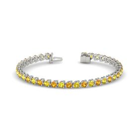 Platinum Bracelet with Citrine and Yellow Sapphire