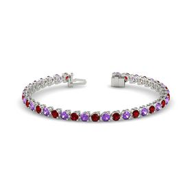 Platinum Bracelet with Ruby and Amethyst