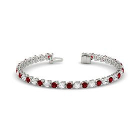 Platinum Bracelet with Ruby and White Sapphire