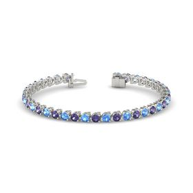 Platinum Bracelet with Iolite & Blue Topaz
