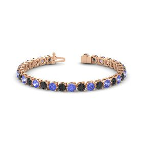 14K Rose Gold Bracelet with Black Diamond and Tanzanite