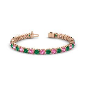 14K Rose Gold Bracelet with Emerald and Pink Tourmaline
