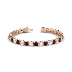14K Rose Gold Bracelet with White Sapphire and Red Garnet