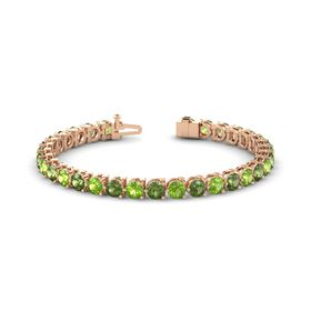 14K Rose Gold Bracelet with Peridot and Green Tourmaline