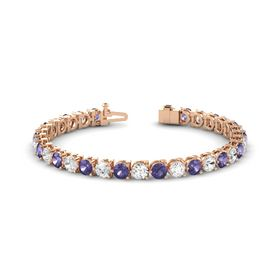 14K Rose Gold Bracelet with Iolite and White Sapphire